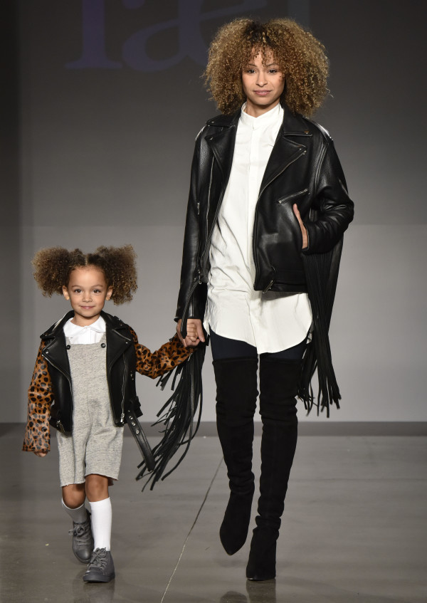 NEW YORK, NY - OCTOBER 17: Models, wearing designs from laer*, at petitePARADE / Kids Fashion Week, NYC October 2015 at Spring Studios on October 17, 2015 in New York City. (Photo by Eugene Gologursky/Getty Images for Petite Parade)