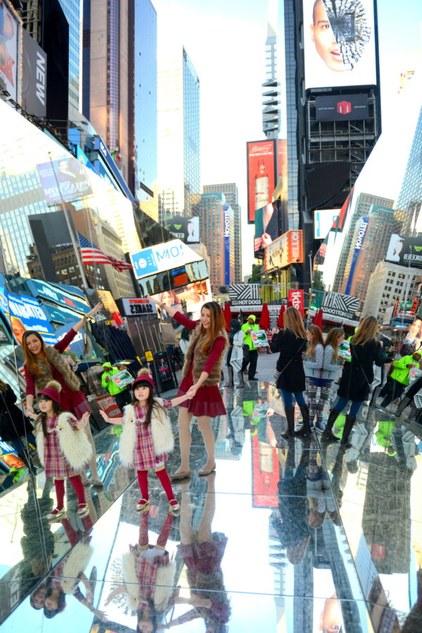 the beginning of the end, times square, broadway plaza, nyc art, mirrors
