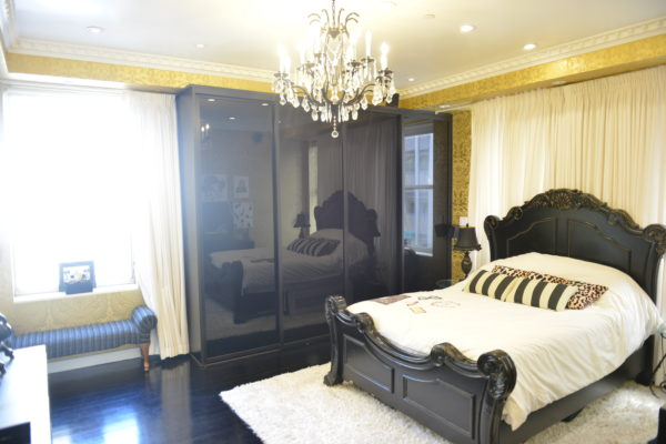 black white bedroom, gold wallpaper, damask wallpaper