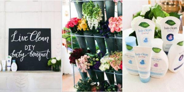 live clean baby blogger breakfast, flowers, diy flower bouquet