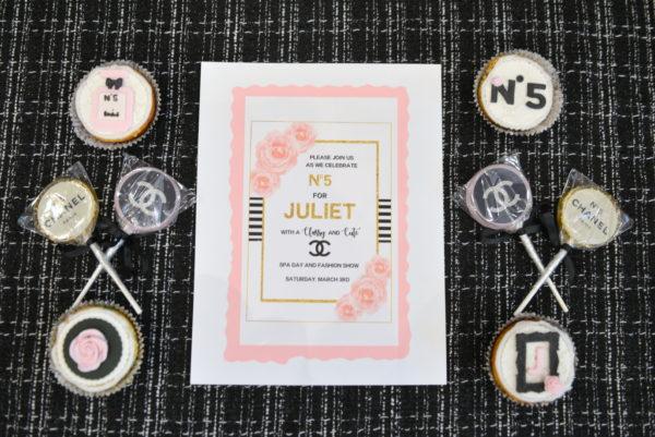 chanel birthday, chanel desserts, chanel cupcakes, chanel invitation, chanel themed party, chanel invite