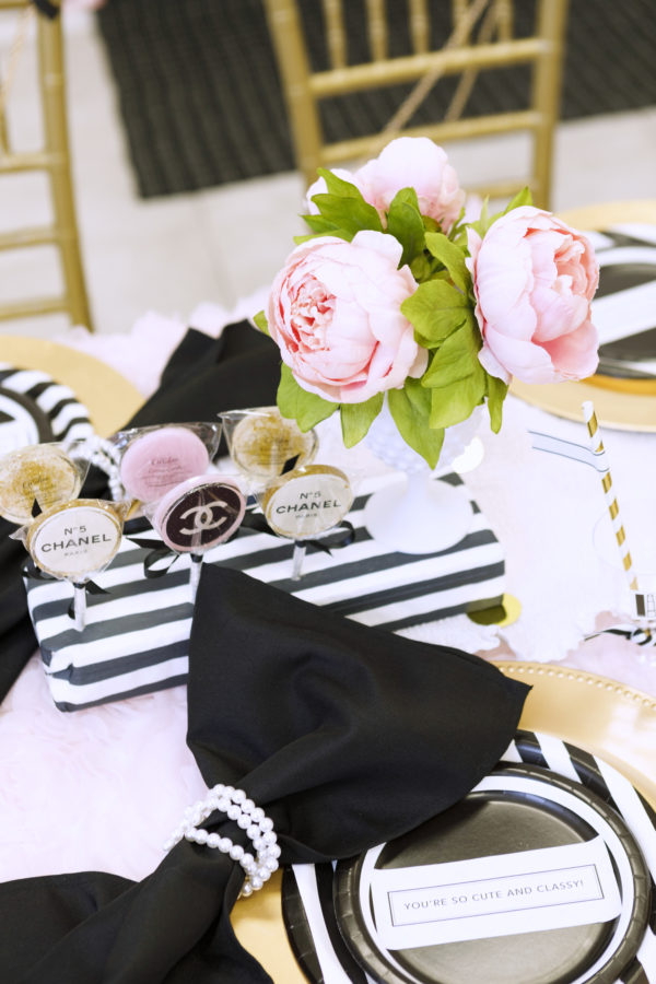 chanel themed birthday, chanel themed shower, chanel desserts, chanel lollipop, coco chanel party, chanel kids party