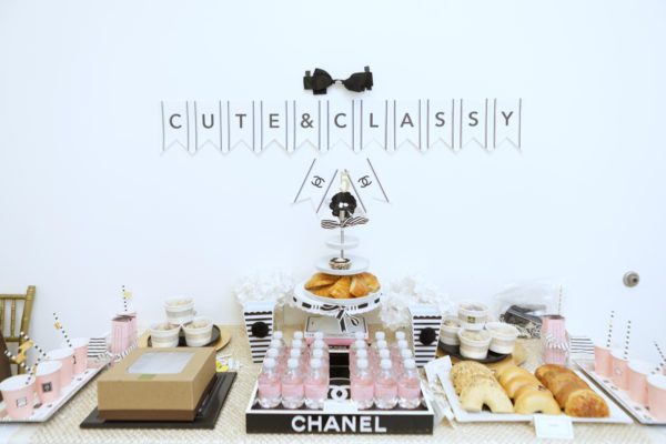 cute and classy no 5, chanel birthday, chanel party ideas, chanel shower, chanel no 5 party