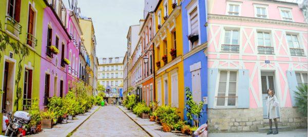 rainbow row, paris street, paris, instagramable paris, colorful houses, instagramable paris