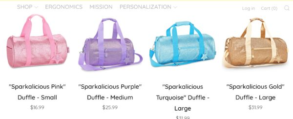 glitter bag, glitter duffle bag, duffle bag, dance bag, gift guide for girls