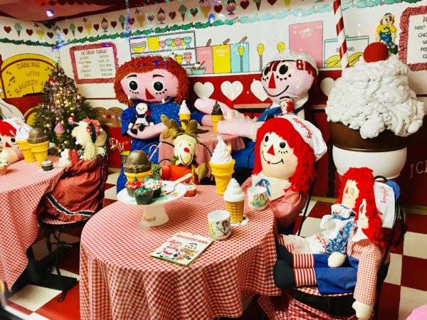 raggedy ann and andy, dolls, tea party, koziar's christmas village