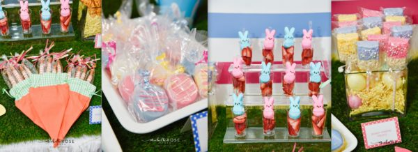 easter desserts, dessert table, easter dessert table, dessert bunnies, peep ideas, easter party ideas, b lee events, pink blue yellow party