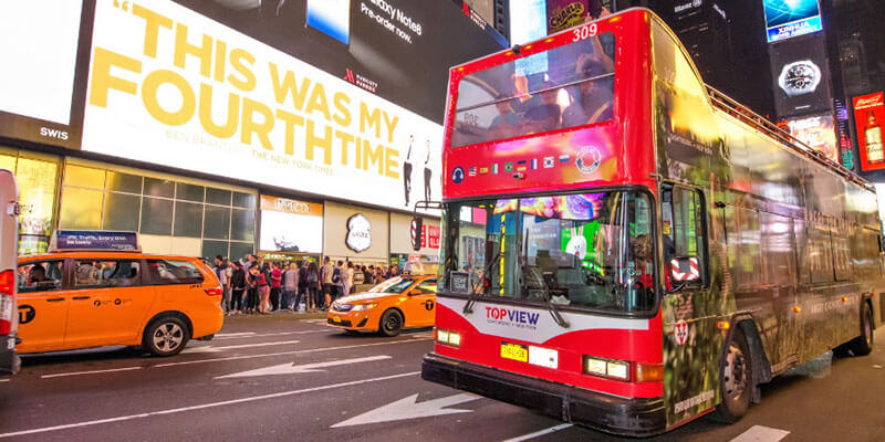 top view, ny bus tour, best nyc tour, best nyc tour bus, times square, times square tour