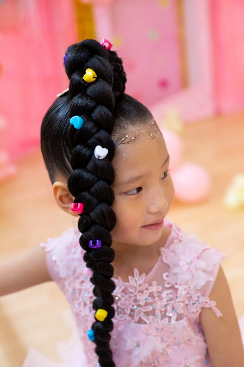styles by vee, hair extensions for kids, hair extension, long black braid, kids hair, kid's hairstyle