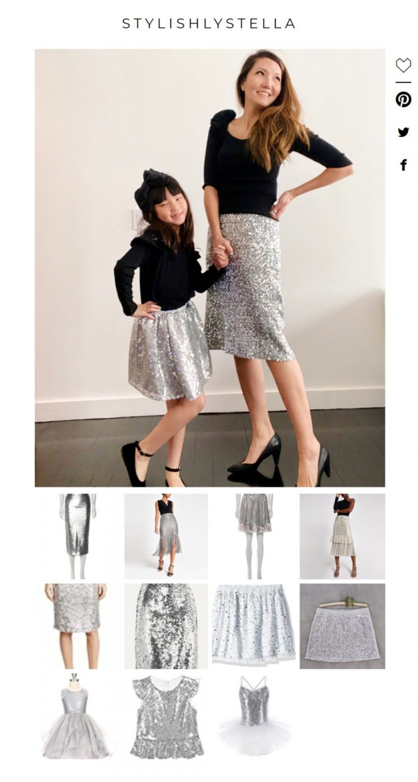 silver sequin skirt, matching mommy and me, matching mommy and me skirts, mommy and me fashion