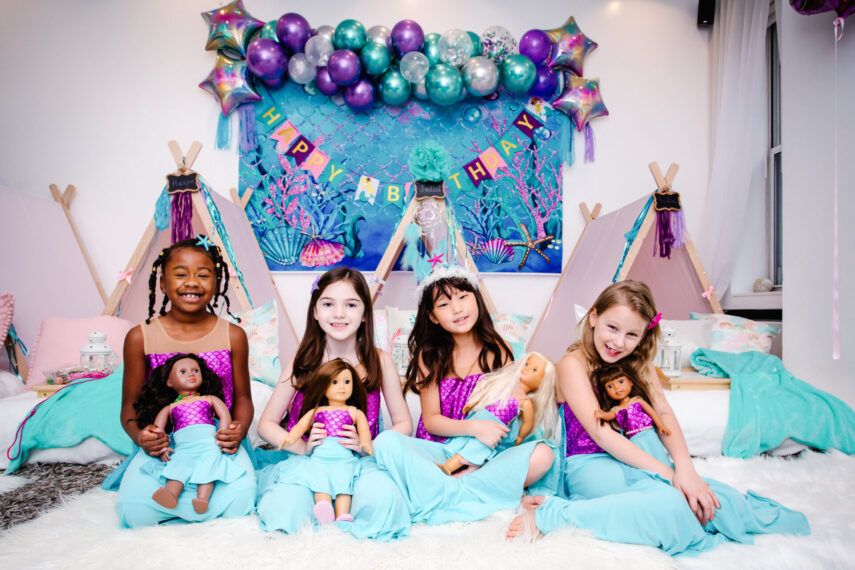 minandme official, matching dress with dolls, american girl doll dresses, mermaid costumes, mermaid party, mermaid party ideas, mermaid birthday, sleepover tents, sleepover party ideas, mermaid squad, how to throw a mermaid party