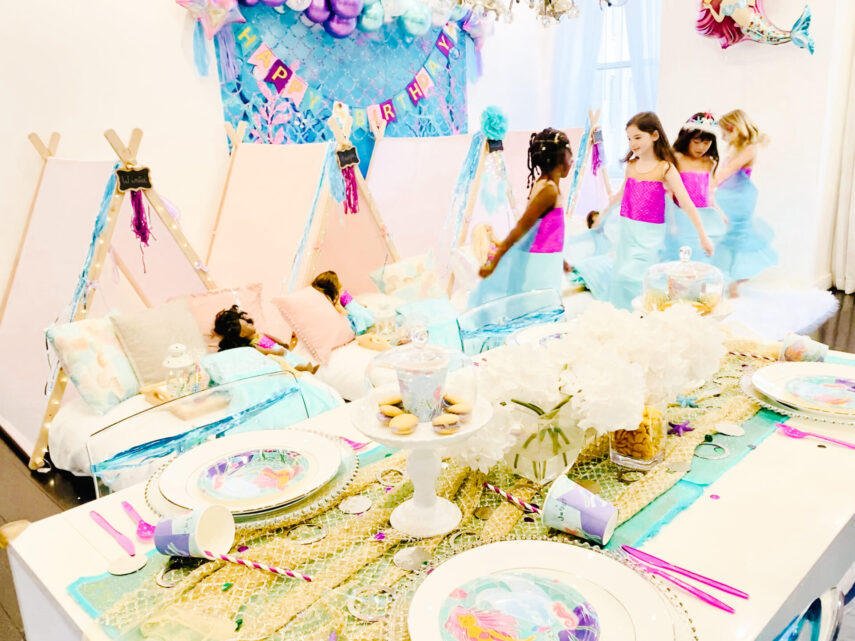 mermaid party, mermaid party ideas, mermaid birthday, sleepover tents, sleepover party ideas, mermaid squad, how to throw a mermaid party