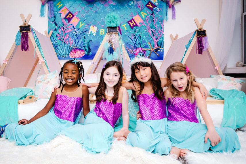 mermaid party, mermaid theme, mermaid themed party, pod party